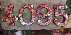 Custom Made Stained Glass Mosaic House Numbers - Your Color Choice (These are in shades of reds, oranges & tans) Mosaic Crafts, Mosaic Projects, Mosaic Art, Mosaic Glass, Mosaic Tiles, Glass Art, Cement Tiles, Wall Tiles, Making Stained Glass