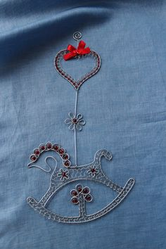 Rocking horse wall hanging; beautifully made with wire & beads.