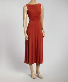 Look what I found on #zulily! Orange Ruched Sleeveless Midi Dress by AA Studio #zulilyfinds