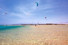Crystal clear waters in Abu Soma, Egypt; another interesting kiteboarding destination.