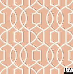 Quantum Coral Trellis Wallpaper  [FFA-82283] Frederica Frontere | Color: Coral | DesignerWallcoverings.com | Luxury Wallpaper | @DW_LosAngeles | #Custom #Wallpaper #Wallcovering #Interiors