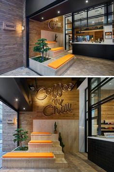 """This modern coffee shop has custom designed wood tiered seating with orange cushions that sits below a lighted three dimensional wood sign that reads, """"Coffee 'n Chill."""" A green bonsai and a few cacti add a touch of nature color to the seating arrangement in this indoor-outdoor anteroom."""