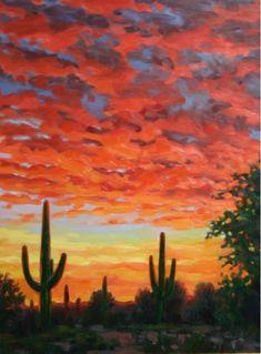 Giclee' canvas print Western Impressionistic Arizona Desert Sunset Landscape - Home and Garden Design Idea's