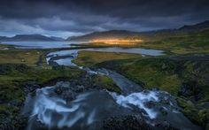 coast, sunset, evening, bay, mountains, Iceland