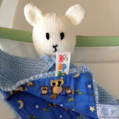 Security Blanket with Ribbon Tags - $25.00 - Handmade Babies and Toddlers, Crafts and Unique Gifts by Annesknitsjr.