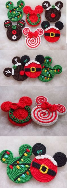 """Check out these amazing Mickey Mouse inspired crochet Christmas ornaments, aren't they adorable?!? There's a wreath, a """"Christmas tree"""" with lights, gingerbread Mickey, a Santa Claus Mickey, and even a Rudolph Mickey! These would look amazing on your Disney Christmas tree, or also strung together as a Christmas garland. I super love these! (affiliate link)"""