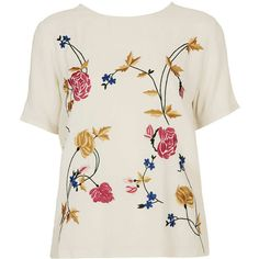 TOPSHOP Flower Embroidery Tee (554595 BYR) ❤ liked on Polyvore featuring tops, t-shirts, tees, topshop, cream, rayon tops, embroidered top, colorful t shirts, short sleeve t shirt and short sleeve tops
