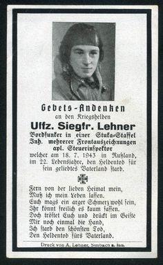 orig. WK2 STERBEBILD - DEATH CARD - STUKA STAFFEL - PILOT - LUFTWAFFE - KIA 1943