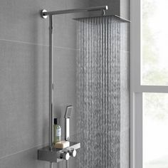 250mm Large Square Head Thermostatic Exposed Shower Kit, Handheld & Storage Shelf