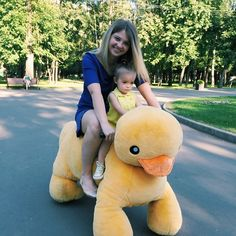 Nastya Skated with  Godmother Eugenia on this Plush Duck  _Jul 14-2014. [ 19 months. ] # InstaFamily. ❣