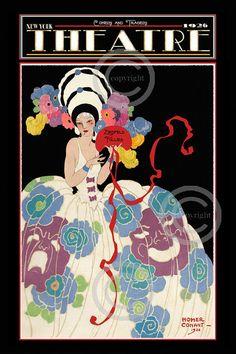 Art Deco Whimsical Rare Theatre Print, Homer Conant Beauty, Ballgown,Tradedy and Comedy, Follies Version, Giclee Fine Art Print 12x18 1920's
