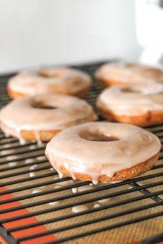 Baked Cinnamon Bun Donuts w/ Vanilla Glaze (Cinnabon + Krispy Kreme in one lowfat donut)