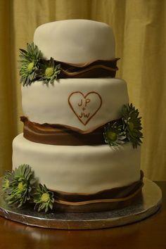 Wood Themed wedding cake  Cake by Cakesbylala