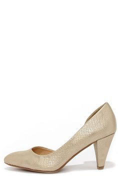 ee8995878be CL by Laundry Angelina Gold Snakeskin D Orsay Kitten Heels at Lulus.com!