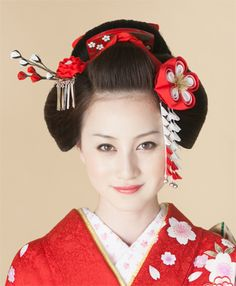 Oharibako: Coming-of-age ceremony hakama hair ornament long-sleeved kimono graduation ceremony ornamental hairpin snacks work pure silk fabrics wedding wedding ceremony floral hairpin Traditional Hairstyle, Traditional Outfits, Traditional Fashion, Geisha Makeup, Eye Makeup, Yukata Kimono, Japanese Wedding, Kanzashi Flowers, Ichimatsu