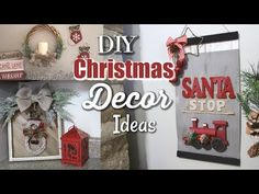 Hey Everyone! In today's video I am taking cute new Christmas items from Walmart and Dollar Tree to create these 3 different DIY Christmas Wall Decor Ideas! Farmhouse Christmas Ornaments, Christmas Mason Jars, Rustic Christmas, Christmas Home, Christmas Crafts, Christmas Decorations, Christmas Videos, Antique Christmas, Primitive Christmas