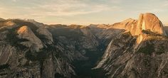 Yosemite Valley in all it's golden hour glory as seen from Glacier Point.