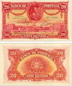 20 escudos, 1917 Portugal, Money Notes, Banknote, World Coins, History Facts, Fountain Pen, Things To Come, Stamp, Paper