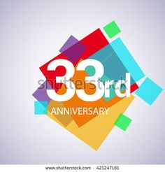 33rd anniversary logo, 33 years anniversary colorful vector design. geometric background. - stock vector