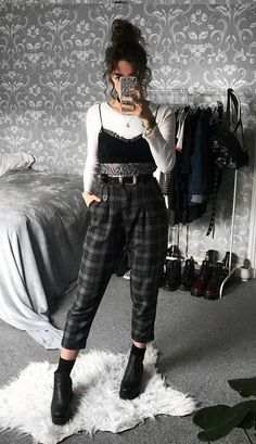 Long sleeve white top with black bralette, plaid pants & boots by sophie.seddon - #grunge #fashion #alternative