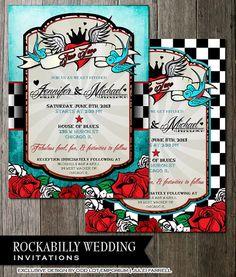 Rockabilly Wedding Invitations -Blue or Checkered - Digital Printable Files-Retro Checkered Distressed Blue Vintage Elements $25.00 Via ODD WEDDINGS www.oddlotweddings.com