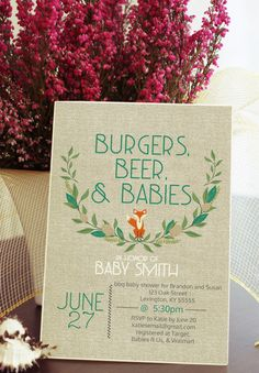Burgers, beer, and babies baby shower invitation. Perfect for a baby shower that men will be attending