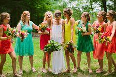 brightly colored bridesmaids' dresses, photo by Jill Devries http://ruffledblog.com/whimsical-michigan-wedding #bridesmaids #bridesmaidsdresses #wedding