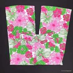 Lilly Pulitzer Gia Pants Size Medium Green Pink Hibiscus Tropical Floral Linen #LillyPulitzer #CasualPants