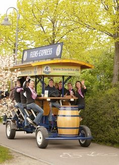 "Invite a few friends and join the ride. This is a ""Bierbike"" - a bicycle including a beer bar. While riding through the city or the countryside with your buddies, you enjoy cool, fresh beers which come right out of the barrel at the front. Cool, right?"