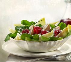 Pear & Raspberry, Endive & Cress, Goat Cheese Salad, with Honey Raspberry Vinaigrette