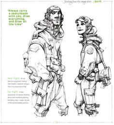Peruse the fantastic sci-fi art in Ian McQue's sketchbook, in Sketching from the Imagination: Sci-fi www.facebook.com/ianmcque
