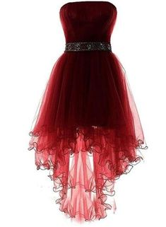 Tulle High Low wine red Homecoming Dress burgundy Prom Dress The most beautiful and newest outfit id High Low Evening Dresses, Evening Gowns, High Low Dresses, Red High Low Dress, Evening Party, Cute Dresses For Party, Pretty Dresses, Party Dress, Red Homecoming Dresses