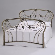 The katherine antique brass effect bed features a beautiful frame, combined with its decorative headboard and footend and will surely compliment any bedroom style. Antique Beds, Antique Metal, Brass Metal, Headboard Decor, Headboard And Footboard, Headboards, Brass Bed, Wooden Slats, Online Furniture Stores