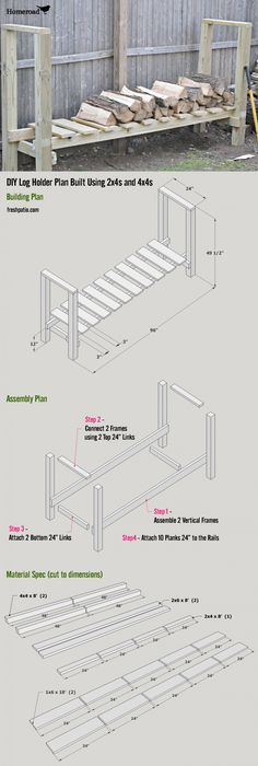 Shed Plans - Free Firewood Rack Plan - total cost $52 for an almost 1 full Rick of wood storage. Now You Can Build ANY Shed In A Weekend Even If You've Zero Woodworking Experience!