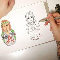 #LxV #tattoo #matryoshka #dreads #dreadlocks #sketchtattoo #russiantattoo #tattoodesign #эскиз #тату #рисунок
