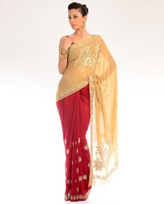 Embroidered Maroon Red Sari with Beige Pallu  by DIA
