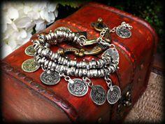 Ethnic Bracelet Silver Coin Bracelet Banjara Bracelet by Ohmdevine