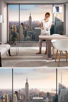 """Blick aus dem Panoramafenster - dabei handelt es sich """"nur"""" um eine Fototapete. Ein toller optischer Trick!"""