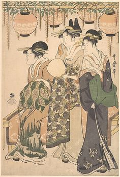 Three Ladies under Japanese Lanterns  Kitagawa Utamaro  (Japanese, 1753–1806)  Period: Edo period (1615–1868) Culture: Japan Medium: Polychrome woodblock print; ink and color on paper