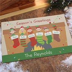 Personalized Holiday Doormats - Family Christmas Stockings