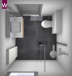 Ontwerp kleine badkamer in veelvoorkomende afmeting 2 x 2 for Ontwerp badkamer 3d