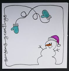 Easy and Fun Christmas Cards for Kids to Make Simple - Snowmen Easy and Fun Christmas Cards for Kids Simple Christmas Cards, Christmas Doodles, Homemade Christmas Cards, Handmade Christmas Gifts, Christmas Art, Homemade Cards, Holiday Cards, Easy Christmas Drawings, Christmas Cards Handmade Kids