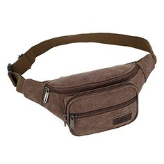 Mens Canvas Fanny Pack Multifunctional With 4 Zippered Compartments Tour Lumbar Pack Sports Bag Waist Pack Stylish Unisex Design Coffee * See this great product. (This is an affiliate link) Waist Pack, Multifunctional, Fanny Pack, Zipper, Unisex, Coffee, Canvas, Stylish, Link