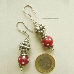 Boucles d'oreilles aux Pâte de verre rouge, Arg 925. Silver Past Glas Earrings.