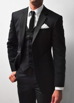 Tailored Wedding Suits by Empire Customs Mens Casual Wedding Attire, Groom Attire Black, Black Suit Wedding, Casual Wear For Men, Groom Suits, Black Suit Black Shirt, Black Shirt Outfit Men, Black Suits, Jackett
