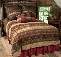 Save - on all Rustic bedding and comforter sets at Black Forest Decor. Your source for discount pricing on lodge bedding and bear bedding accessories. Rustic Bedding Sets, Western Bedding Sets, Queen Bedding Sets, Luxury Bedding Sets, Western Bedrooms, Rustic Cabin Decor, Western Decor, Southwestern Bedding, Southwest Decor