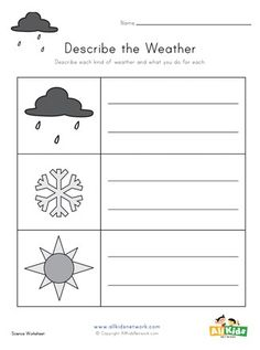 Look at each of the pictures and write a brief description. Weather Worksheets, Science Worksheets, Worksheets For Kids, Printable Activities For Kids, Educational Activities, Holiday Crafts, Crafts For Kids, Writing, Pictures