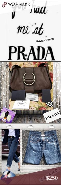 """Private Bundle & Birthday Gift Authentic Brown Leather Prada Shoulder Bag.  This Prada Bag comes with it's Authentic Cards & Dust Cover. EUC. Measurements appropriately 9"""" x 11"""" x 3"""". 8"""" Strap Drop Hardware marked.  Features an outside pocket. Inside is clean. Tag inside says """"50"""". Buttery leather. J. Brand Clyde Boyfriend Jeans Size 26. NWOT Other"""