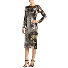 Dress the Population Emery Long-Sleeve Sequin Dress ($275) ❤ liked on Polyvore featuring dresses, long sleeve sequin dress, white long sleeve dress, sequin midi dress, rainbow white dresses and long sleeve dress
