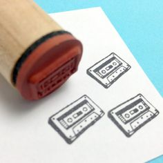 Mix Tape Retro 70s 80s Tape Cassette Rubber Stamp by RADstamps, $3.75